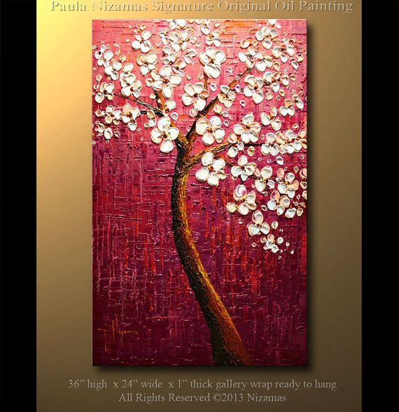Original 36 x 24  Abstract Oil contemporary Palette Knife Floral painting Morning Blossoms by P. Nizamas