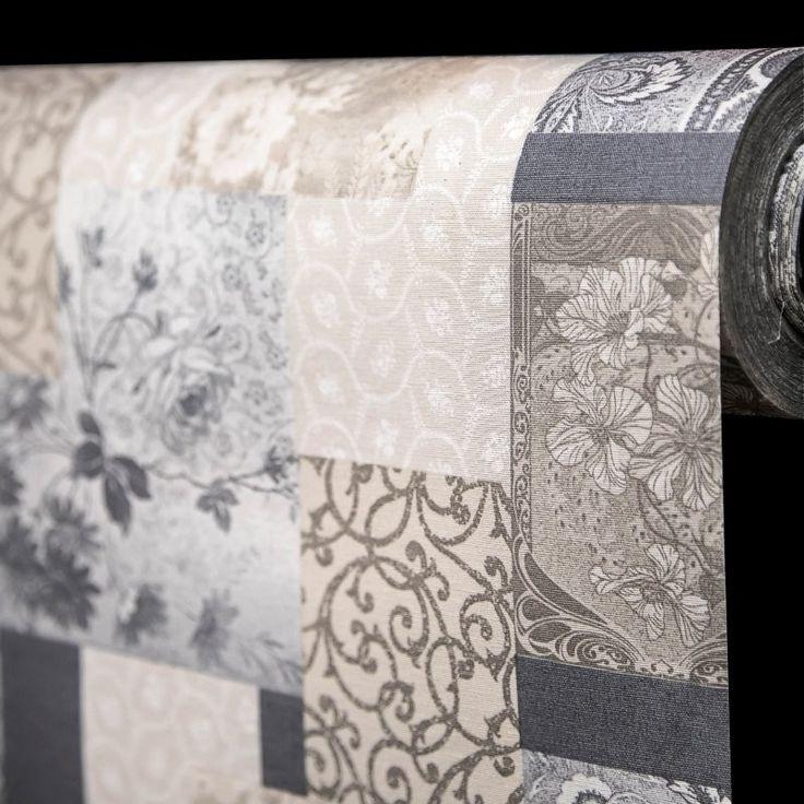 Ubrus látkový 27884-1001, nešpinivý s akrylovým nástřikem, šedý patchwork, š. 140cm (metráž) - Ubrusy textilní - Ubrusy - ... a ještě více | Internetový obchod Chci POVLEČENÍ.cz