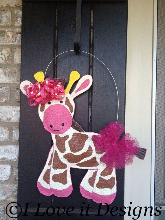 Giraffe Burlap Door Hanger by ILoveItDesigns on Etsy, $35.00