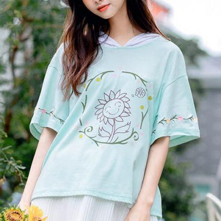 Sunflower short sleeve hoodies for girls flower embroidered tops green