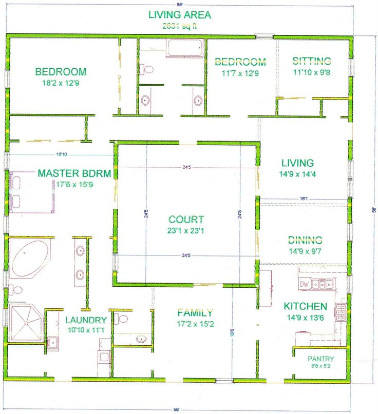 Center courtyard house plans with 2831 square feet this for House plans with courtyard in middle