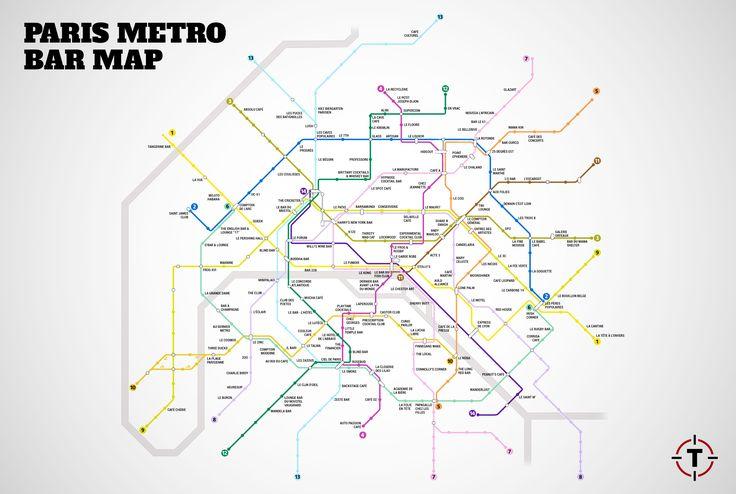 Le plan de métro de Paris des meilleurs bars