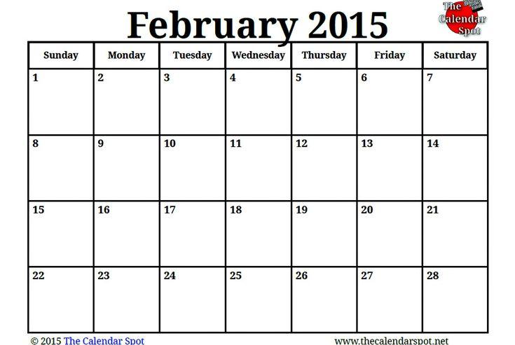 image for printable blank pdf february 2015 calendar
