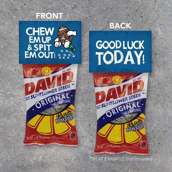 Clever Sports Locker Treats for Game Day! Printable football good luck treat toppers in both blue and red. Just attach to sunflower seeds or a pack of gum. By Studio 120 Underground, $5.