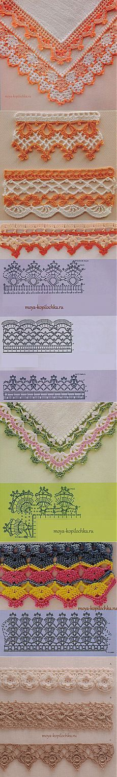 42 sample crocheted lace to trim the edge of the product with the schemes.