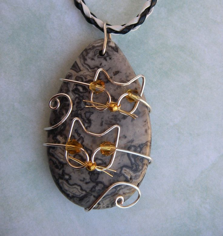 2 Unique Silver Wire Cats/Kittens on Crazy Laace Agate Pendant Necklace. $12.50, via Etsy.