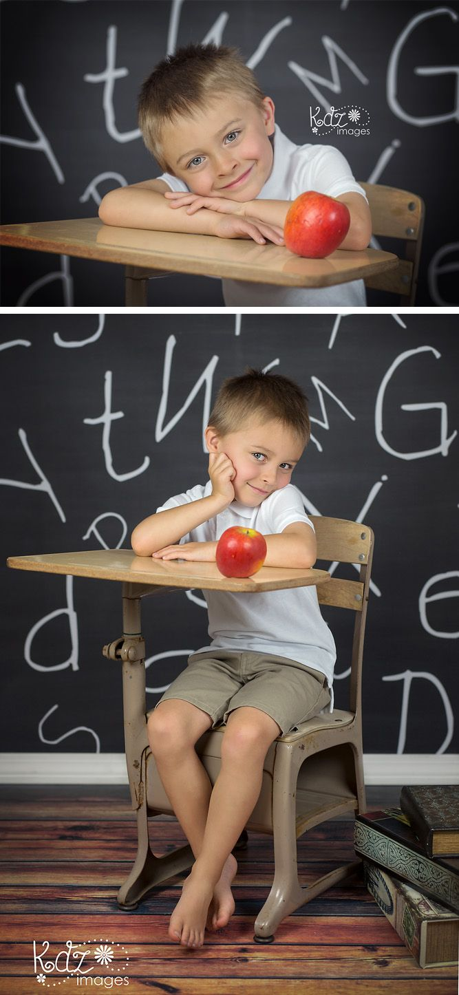 Back to School / First Day of School Photo Idea - Features Chalkboard with Letters Backdrop