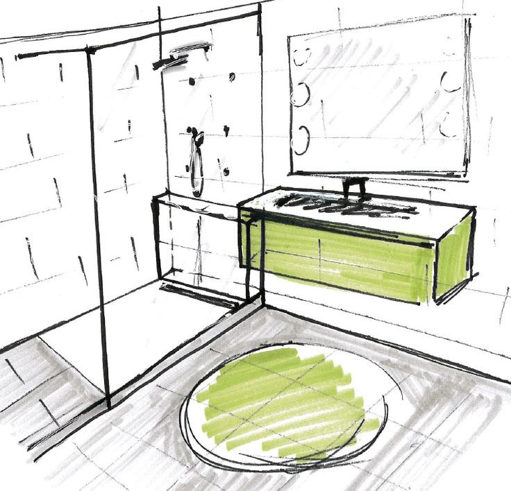 Esquisse salle de bain vert acide, gris et blanc