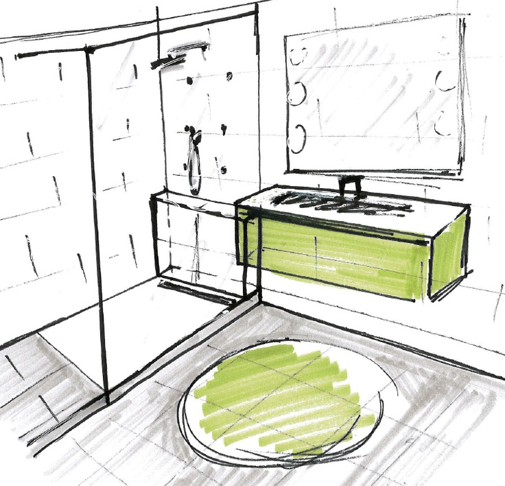 Esquisse salle de bain vert acide gris et blanc home - Salle de bain gris vert ...
