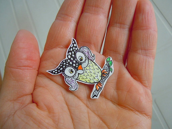 The Owl  shrink plastic brooch by valeriatelier on Etsy, $9.50