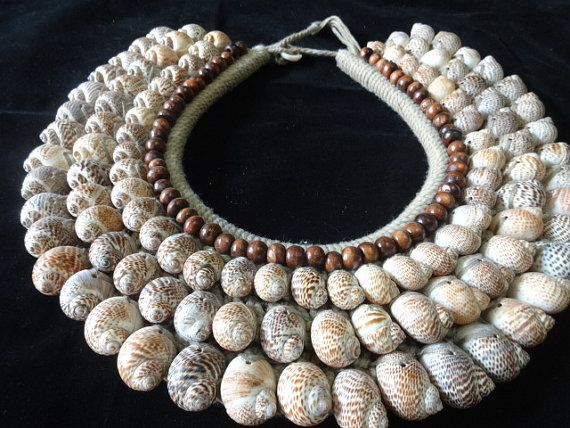 Sea Shell Nautical Necklace Brown Beads Adorn Papua New Guinea