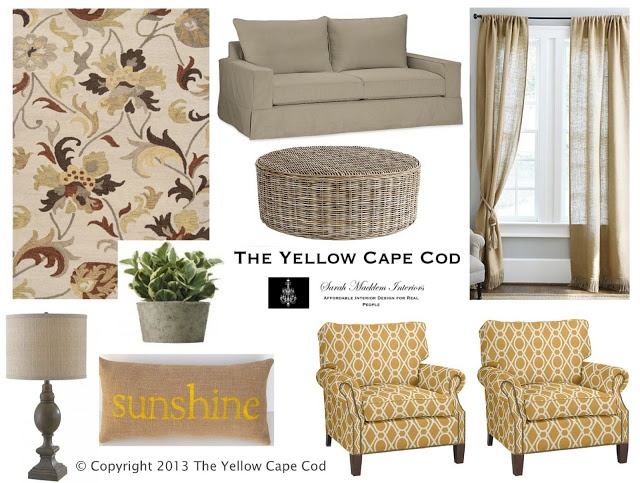The yellow cape cod warm gray and sunny yellow living for Cape cod living room furniture