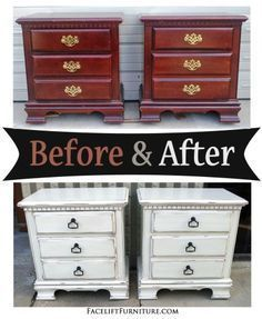 Distressed Antiqued White Nightstands – Before & After – Facelift Furniture     …