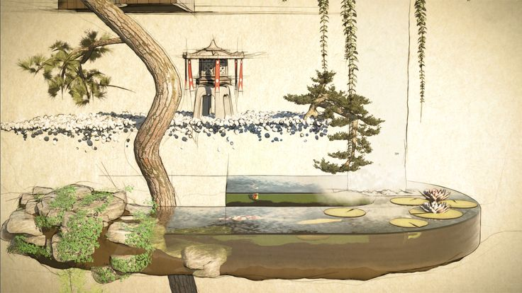 Screenshot of an animation illustrating key concepts in japanese architecture.
