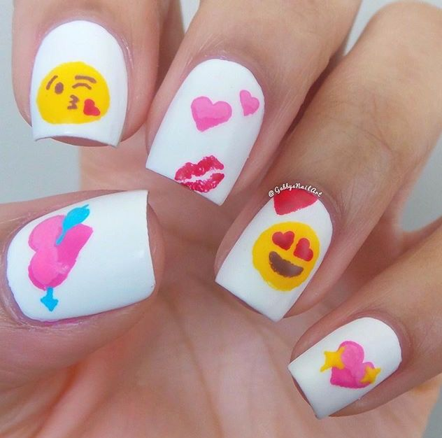 Emoji nails, would be cute for Valentine's Day