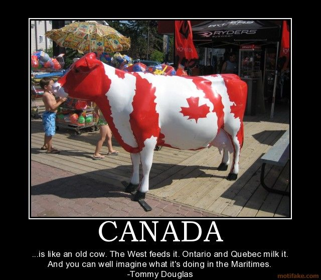CANADA ...is like an old cow. The West feeds it. Ontario and Quebec milk it. And you can well imagine what it's doing in the Maritimes. -Tommy Douglas