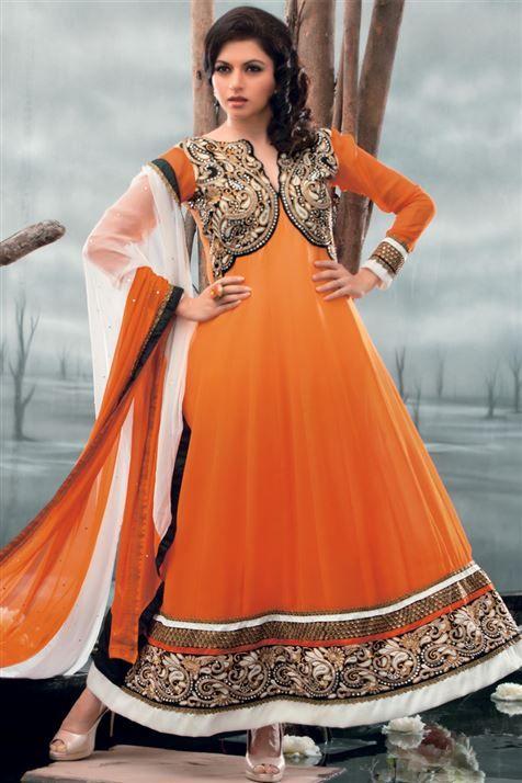 Scintillating Bhagyashree Orange Georgette Heavy Zari work Knee Length Suit