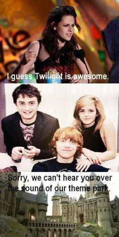 @nobleparis ✧☾harry potter vs twilight<-- Wait, there's actually a competition between Harry potter and twilight? <<< wait there's actually a comparison?<<< HARRY POTTER RULES THE FANDOM KINGDOM