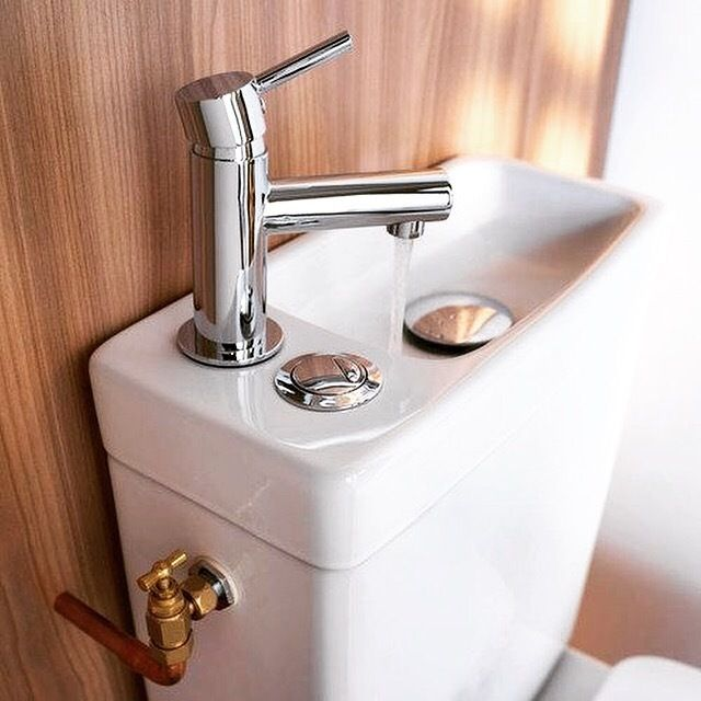 Such a cool way of conserving water. Sink/toilet.  #ilovebathroomideas #inspiration #dreamhouse #apartmenttherapy