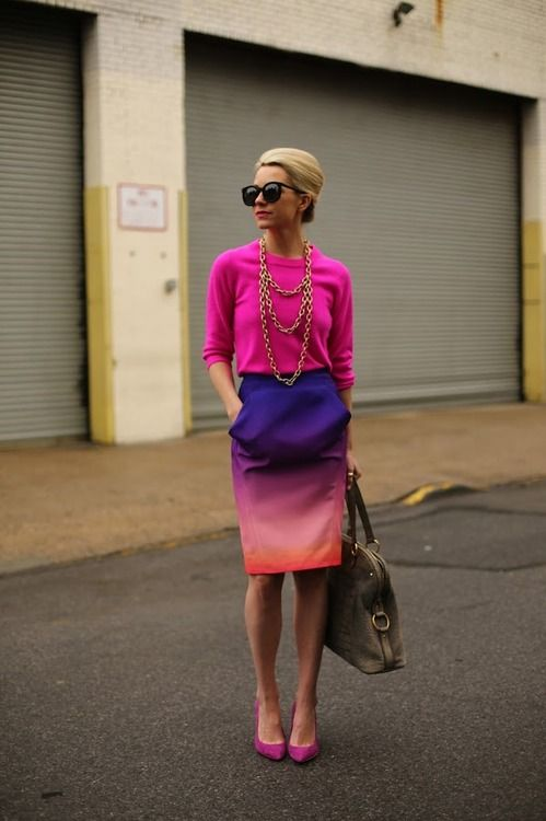 Fuchsia sweater, pencil skirt with two tone fading effect