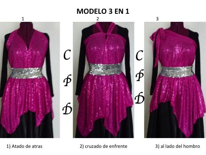 Precioso modelo 3 en 1. Lo usas de 3 diferentes formas y lo puedes ordenar la túnica en 9 colores.