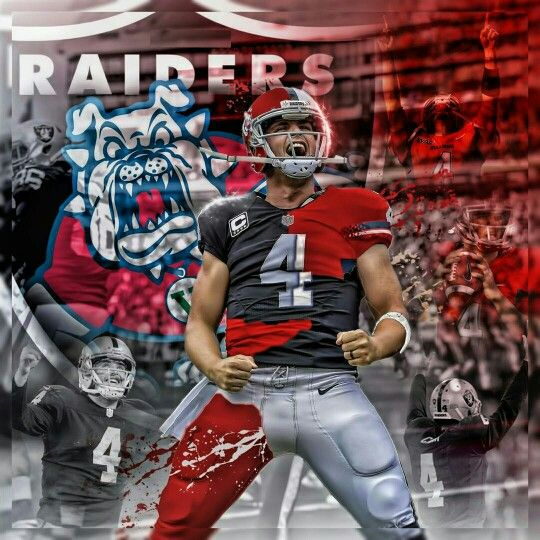 Oakland Raiders Los Angeles Raiders Silver and Black Derek Carr Fresno State Bull Dogs