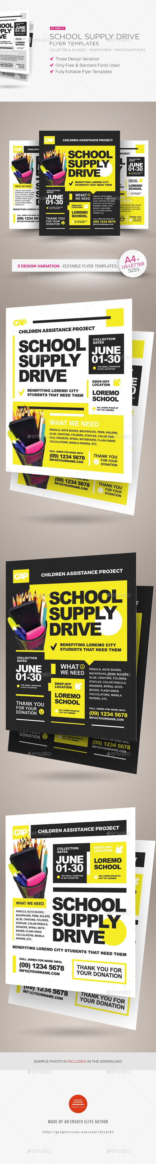 School Supply Drive Flyer Templates — Photoshop PSD #a4 #children • Download ➝ https://graphicriver.net/item/school-supply-drive-flyer-templates/19066088?ref=pxcr
