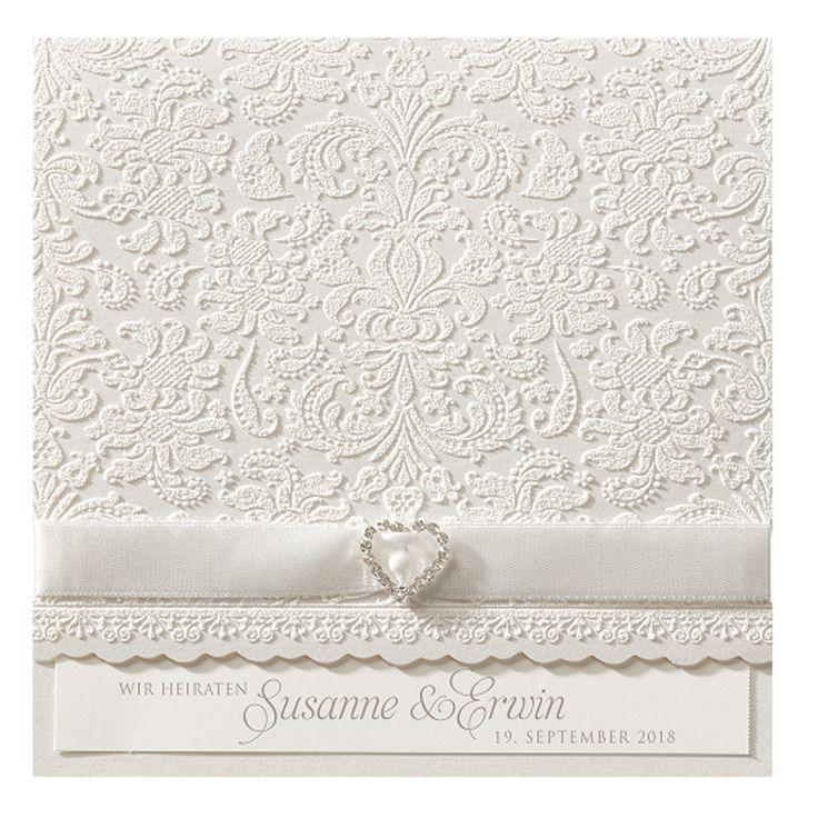 """Hochzeitskarten """"edle Spitze"""" - sehr romantisch! Vorort bei Wimmer-Druck in Aachen oder online bei Top-Kartenlieferant bestellen."""