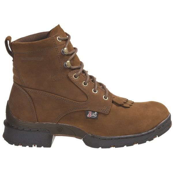 justin boots coffee westerner lace up boots waterproof
