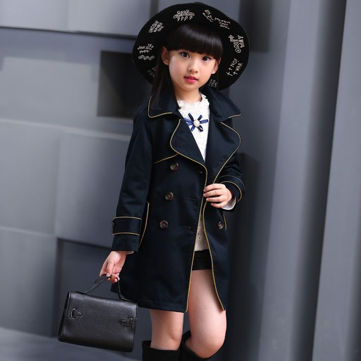 26.22$  Watch now - http://alif45.shopchina.info/1/go.php?t=32803834952 - Girls Trench Coat Autumn 2017 Children Long Coat Kids Blazer Cotton Outerwear Jackets Teenage Girls Clothing Fashion Outwear  #bestbuy