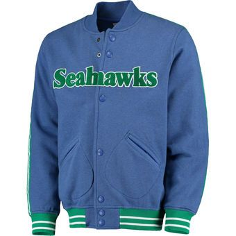 Men's Mitchell & Ness Royal Seattle Seahawks Play Call Fleece Full-Snap Jacket