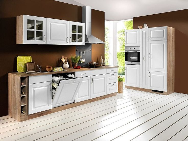 Küchenzeile »Tilda«, inkl. E-Geräte - Breite 280 cm, mit autarkem Kochfeld, weiß, eiche