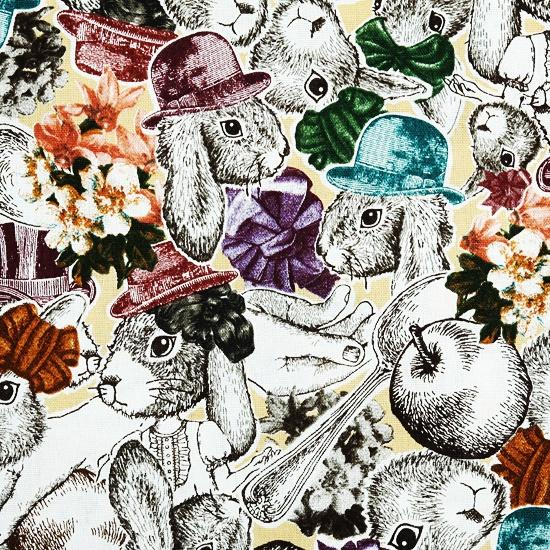 Kawaii rabbits fabric, Cosmo
