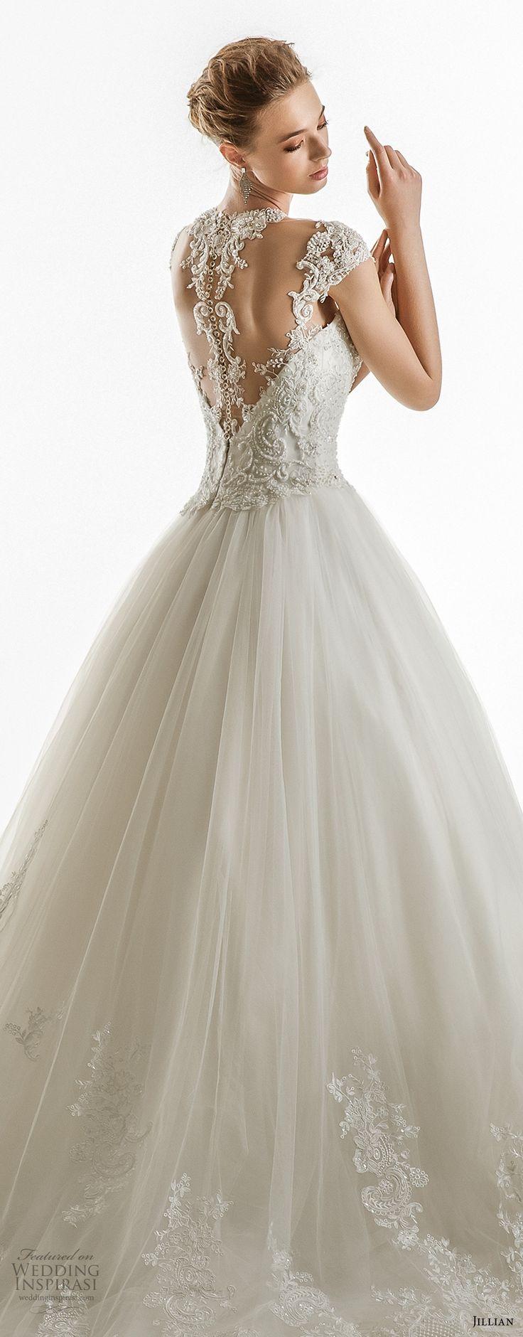 jillian 2018 bridal cap sleeves illusion jewel sweetheart neckline heavily embellished princess ball gown wedding dress sheer lace back chapel train (17) zbv -- Jillian 2018 Wedding Dresses
