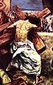Artist's conception of Jesus carrying cross