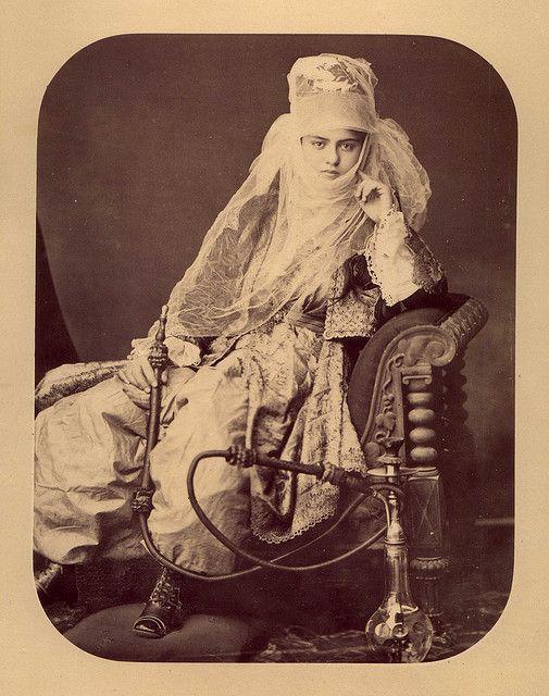 "Young Woman with a Hookah by 19th Centurybah ""J. Pascal Sebah"" Turkey ""19th Century Photo"" Album"
