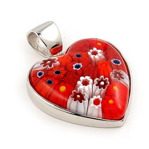 163 best murano and venitian glass images on pinterest crystals large red matte murano glass millefiori heart sterling silver pendant millefiori 5775 designer jewelry mozeypictures Images