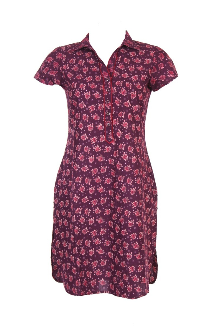 Purple shirt style kurta; floral print; short sleeve; 60's cambric; 100% cotton; 37 inches long #Clothing #Fashion #Style #Kurta #Wear #Colors #Apparel #Semiformal #Print #Casuals #W for #Woman