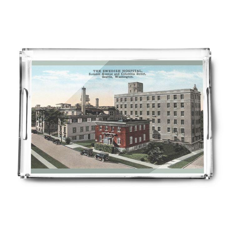 Seattle, WA - Swedish Hospital - Vintage Halftone (Acrylic Serving Tray)