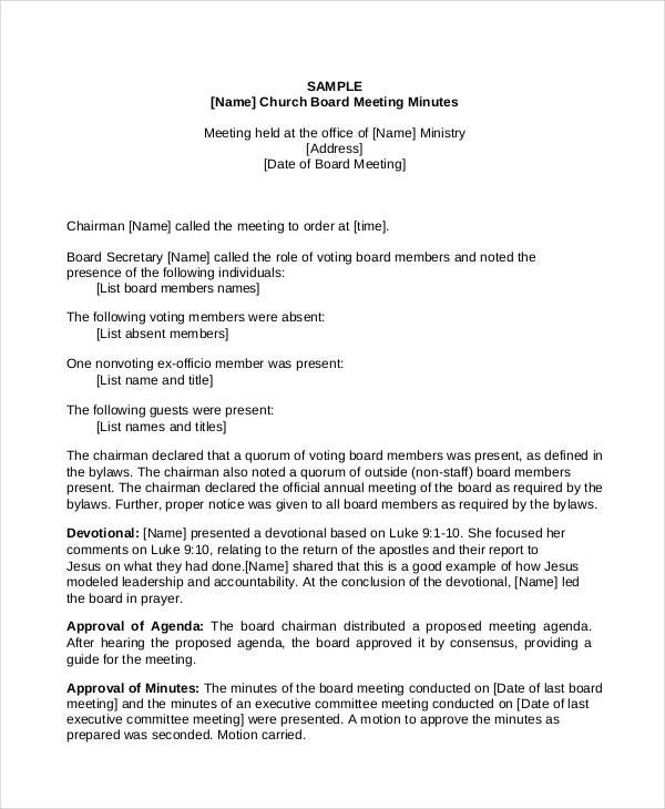 11 Church Meeting Minutes Templates Report Writing Format