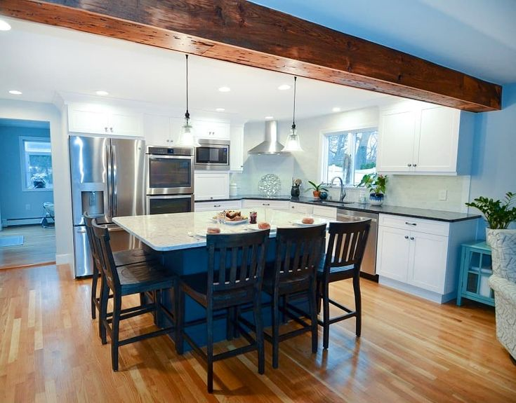 Open White Kitchen with Custom Island in 2020 | Kitchen ...