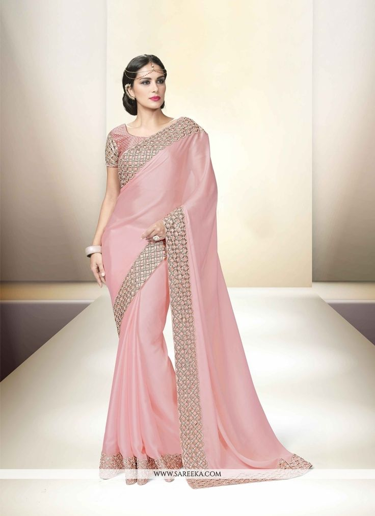 Fashion and style always depends on good color and fantastic combination of shades and so we create best shades to enhance your beauty and personality. Steal the hearts away with this pink georgette a...
