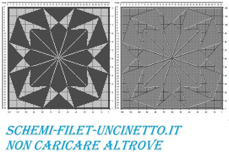 centro qudrato geometrico schema filet uncinetto gratis
