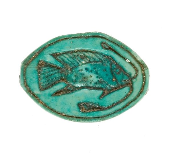 Cowroid Seal Amulet Inscribed with a Bolti Fish | New Kingdom, Dynasty 18, early Reign:Joint reign of Hatshepsut and Thutmose III Date:ca. 1479–1458 B.C. | The Met
