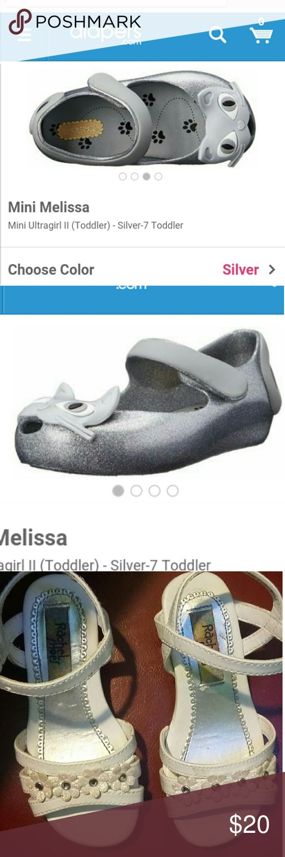 Silver cat Mini Melissa's & White Easter Sandals Size 8. Like New!! No signs of wear Mini Melissa Shoes Sandals & Flip Flops