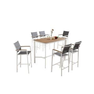 S'DENTE Vitt White Wood and Sling 7-Piece Patio Bar Height Dining Set-SD7130WT - The Home Depot