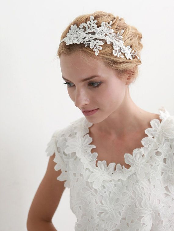 STYLE - #207 CODE: HDB010 Ale-con lace headband. Lace wedding headband features delicate alecon lace with intricate edge details. The beautiful floral shape is accentuated by gentle sparkles of hand-beaded beads and sequins. To order yours, contact us on loca@localoca.co.za www.localoca.co.za