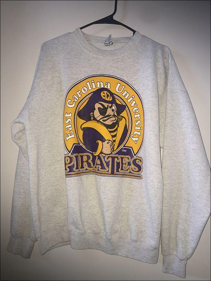 Vintage 90's East Carolina University Pirates Crewneck Sweatshirt - Size XL by…