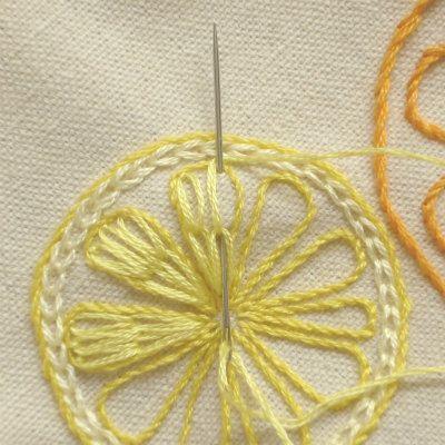 レモンとオレンジの簡単刺繍の画像 | 【かんたん刺繍教室】たった6つのステッチだけでらくらく刺繍上達ブログ