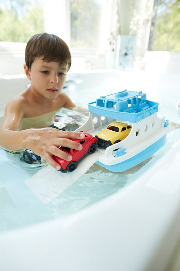 Green Toys Ferry Boat with Mini Cars Bathtub Toy, Blue/White | Toys ...